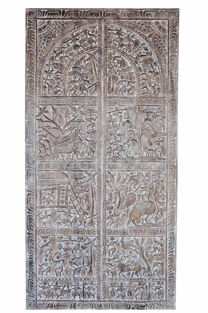 Vintage Wood Hand Carved Tribal Sculpture Wall Hanging BARN DOOR INDIANART 72X36