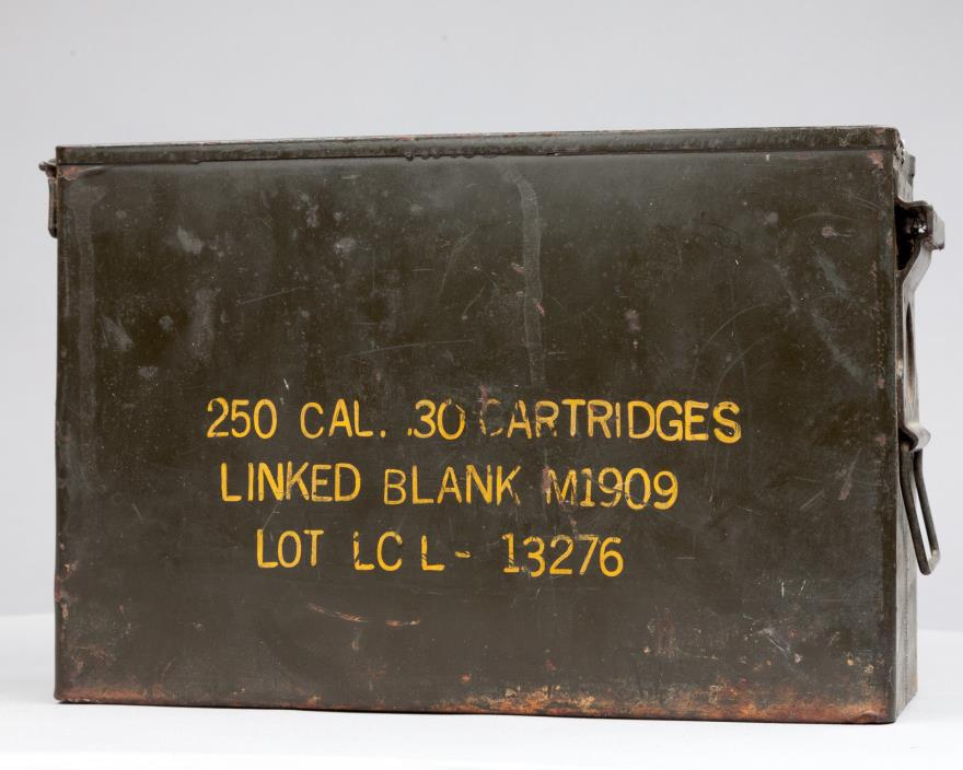 VINTAGE .30 CALIBER METAL CARTRIDGE MILITARY AMMO CASE BOX CAN EMPTY