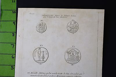 Ancient Greek Coins Engraving Late 1700's 8x11 Inches