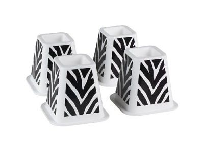 The Macbeth Collection Black Zebra Printed Bed Raisers, Set of 4.