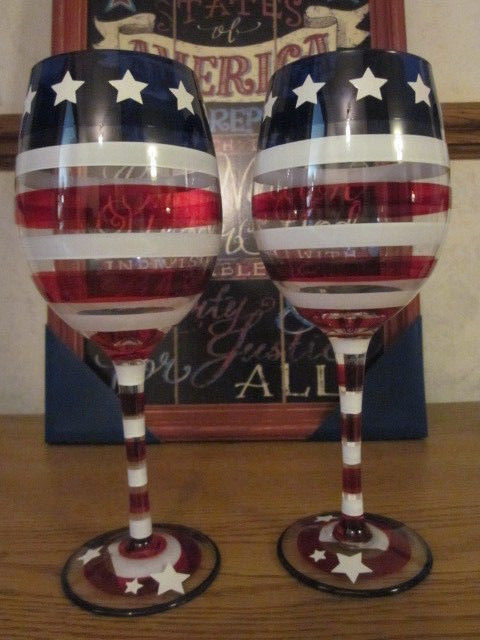 S/2 Pier 1 Stars and Stripes 4th of July Flag Patriotic Americana Wine Glasses