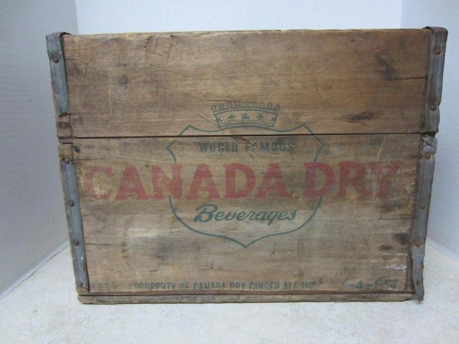 Vintage/Antique Wooden Canada Dry Soda Crate w/ Metal Strapping - Made in 1955
