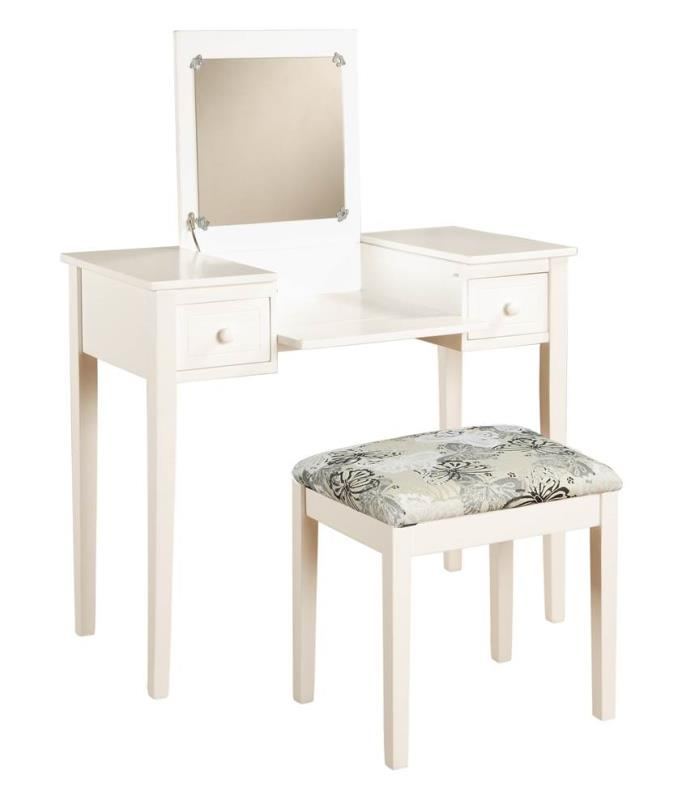 Vanity Set with Butterfly Bench in White [ID 2257260]