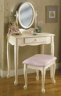 Vanity Table Set w Bench in White Finish [ID 646]