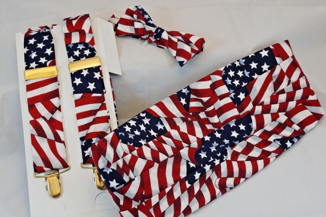 American Flag Adjustable Suspenders Cummerbund Pre-tied Bow Tie Tuxedo Tux USA