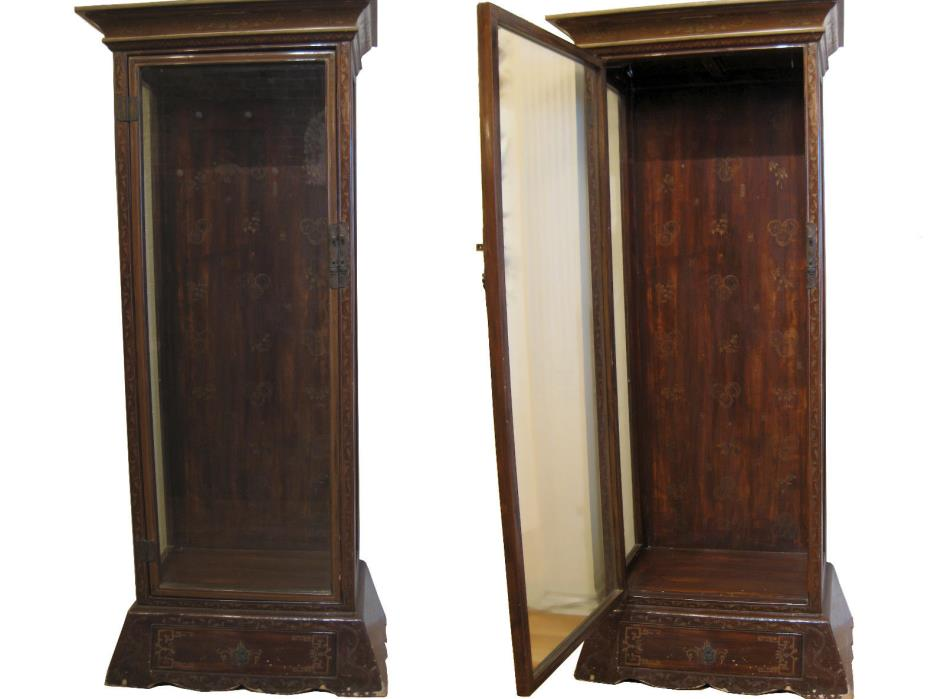 Pair of antique Asian lacquered glass display cabinets w/ bottom drawer