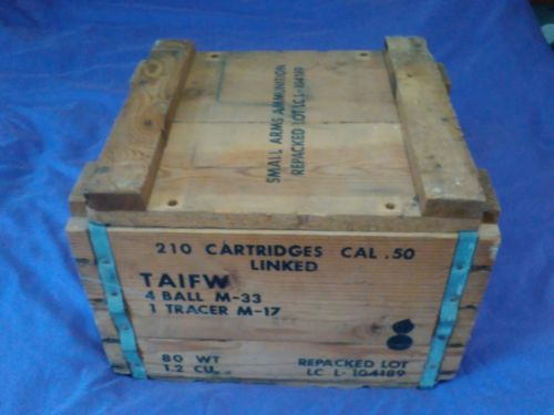 50 Caliber Wood Ammo Box Metal Handles 210 Rounds