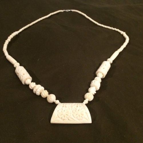 """Vintage Carved Camel Bone Necklace Primitive Tribal 31 1/2"""" Long African Beads"""