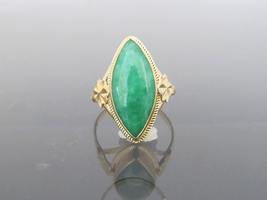 18K Solid Gold Marquise Natural Green Jadeite Jade Vintage Flower Ring Size 7.5