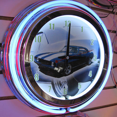 Blue Camaro Z28 Neon Sign 2 Ring Neon Clock