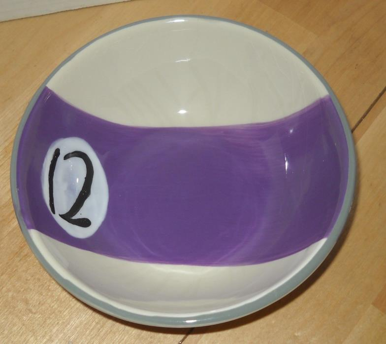 Clay Art Pool Billiard Ball #12LPurple white Stripe Soup Cereal Snack Bowl   100