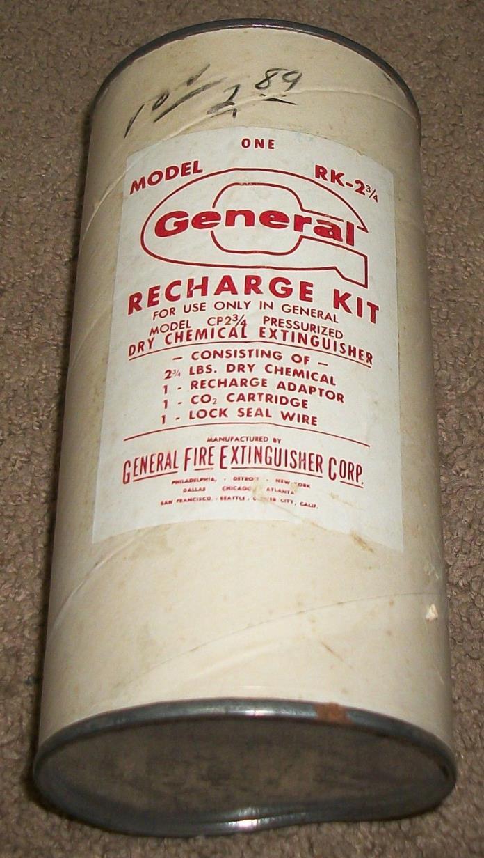 SCARCE VINTAGE NOS GENERAL FIRE EXTINGUISHER CORP. RECHARGE KIT MODEL RK-2 3/4
