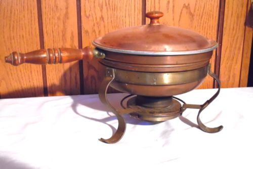 Vintage Copper Chafing Dish with Wooden Handle - Includes Fuel Capsules