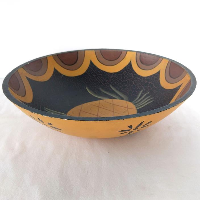David Auld Signed Early Handcrafted Haitian Wooden Bowl w/ Pineapple Inside