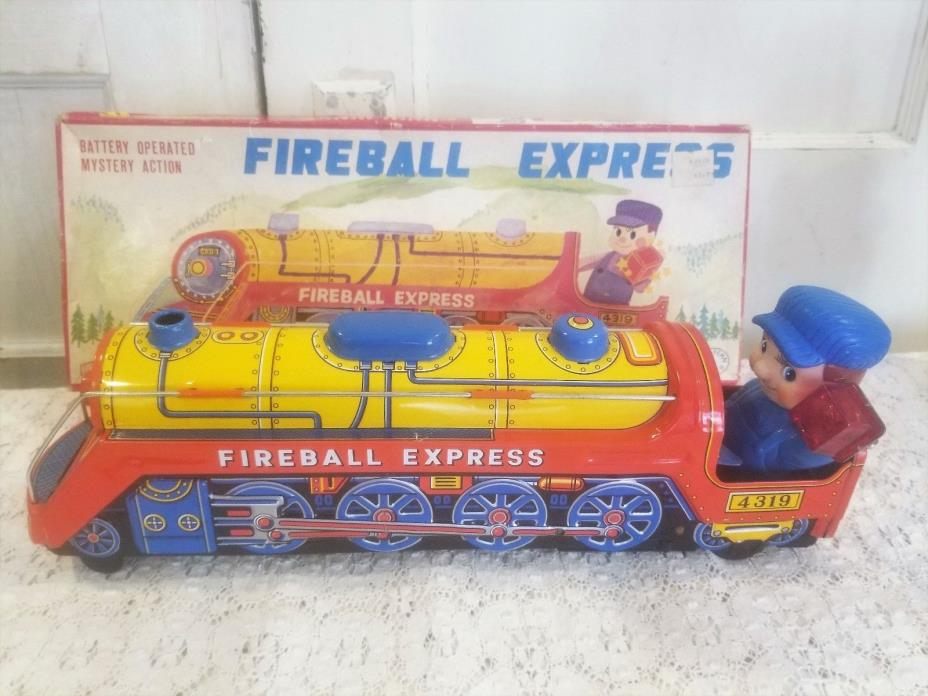 Vtg FIREBALL EXPRESS Tin Toy Train Battery Operated Mystery Action 15.75