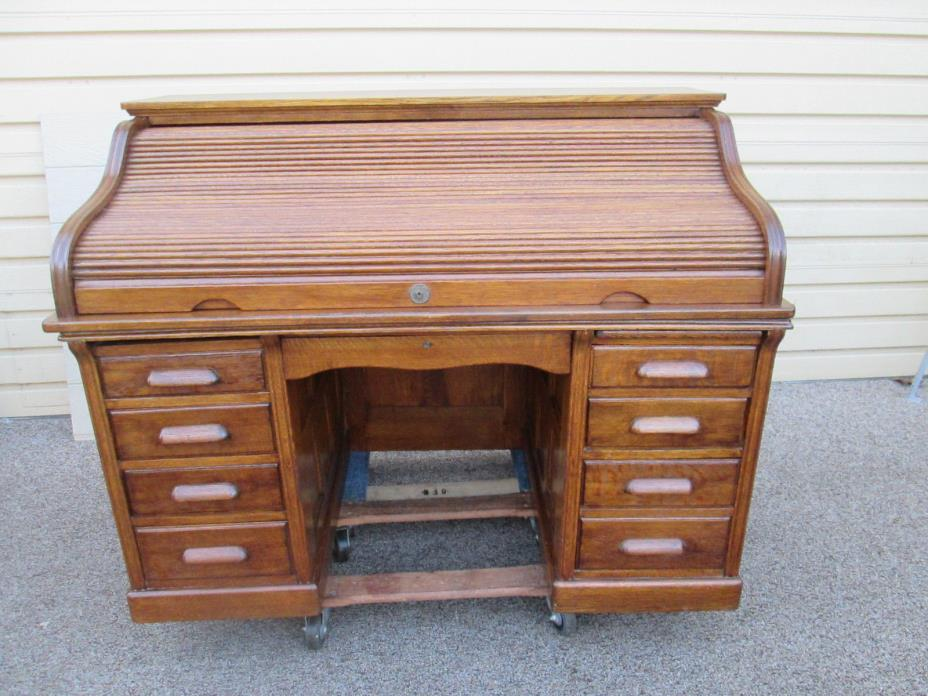 58627 Antique Oak Raised Paneled Roll Top Desk   QUALITY