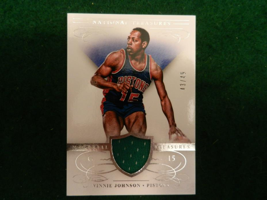 2013 '13-14 PANINI *GAME USED JERSEY* CARD of VINNIE JOHNSON. #22. #43/49!