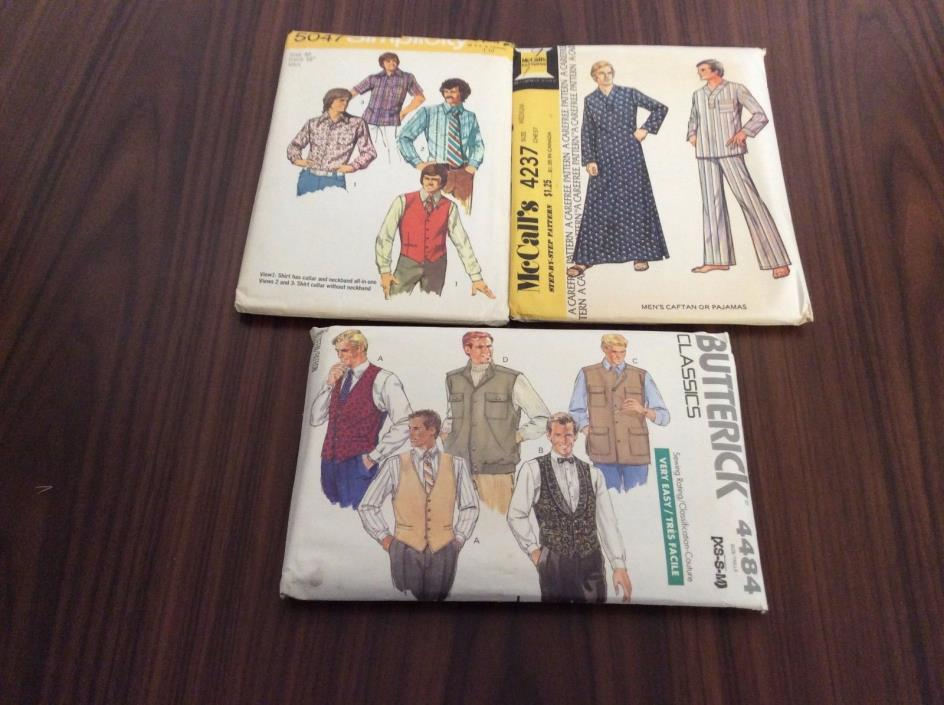 Lot of 3 Vintage 1970-1980's Sewing Patterns Men's Vests Shirts Pajamas