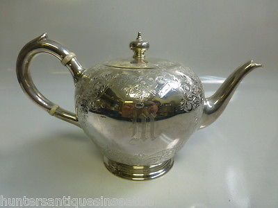 Antique Birks Sterling Silver Teapot (25.39 T-oz) Engraved scrolling floral