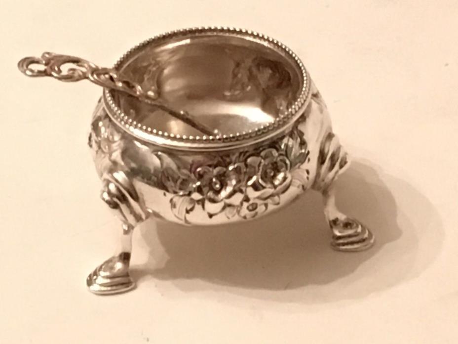 Antique English Victorian Handchased Elkington Sterling Silver Salt Cellar RH