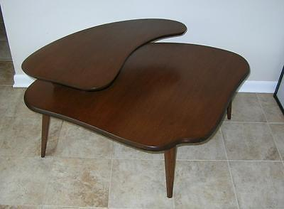 RARE Mid Century Modern BIOMORPHIC  2 TIER Wood CORNER END TABLE Vintage UNUSUAL