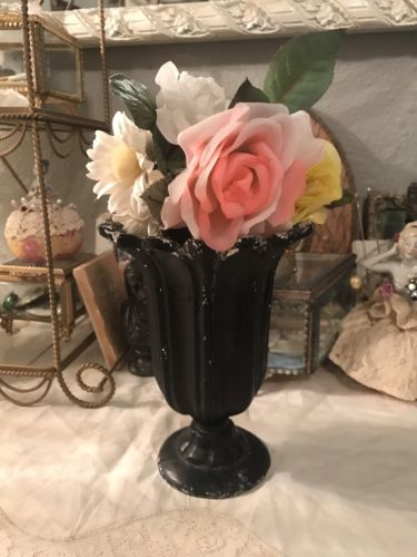 Antique  Pot Metal Flower Vase Garden Tulip Design Scalloped Rim