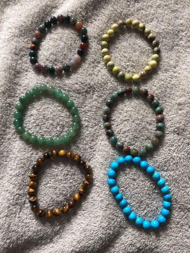 Six Natural Stone Bracelets