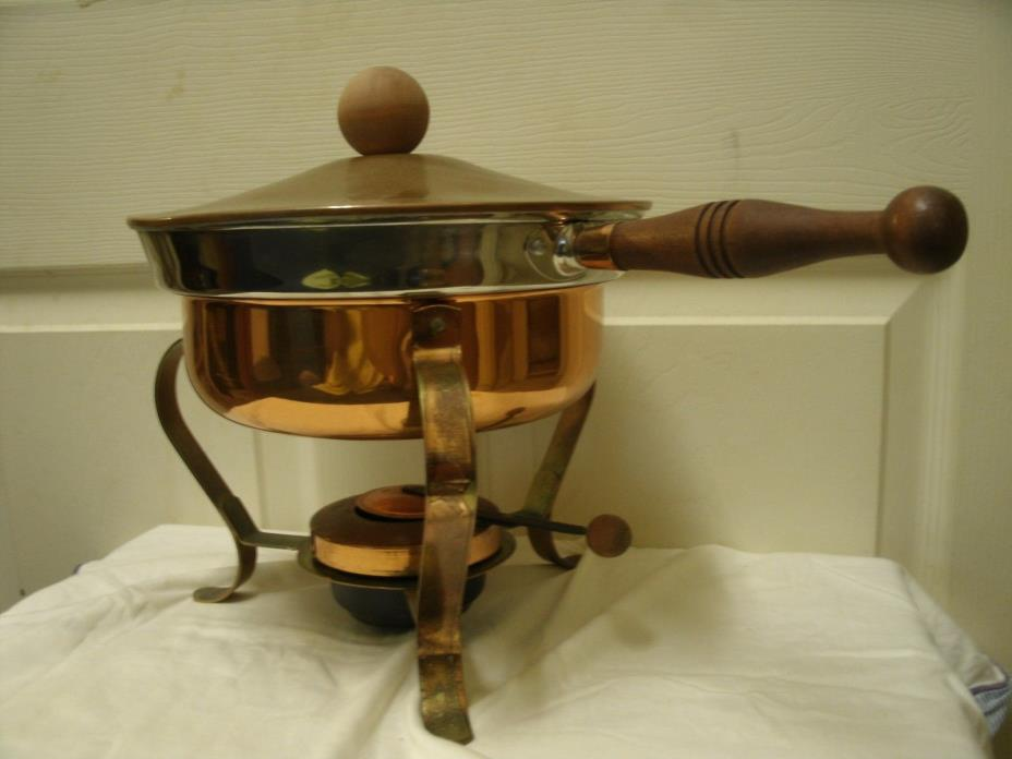 Vintage Chafing Dish. Copper color, with original instruction sheet.