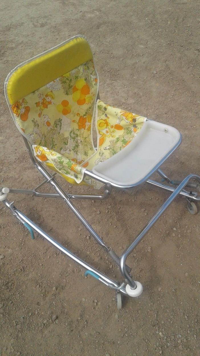 baby walker vintage antique retro old seat bouncer child stroller high chair