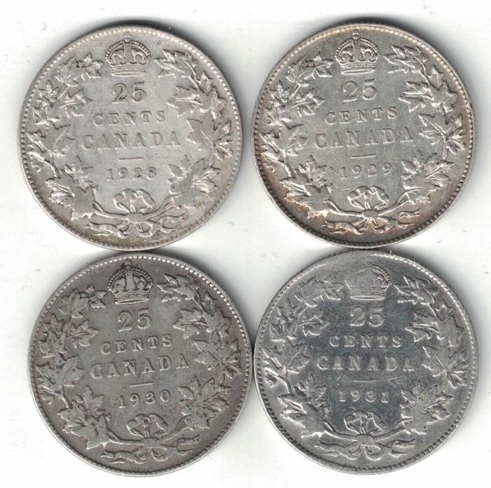 4 X CANADA TWENTY FIVE CENTS QUARTERS KING GEORGE V 800 SILVER COINS 1928 - 1931