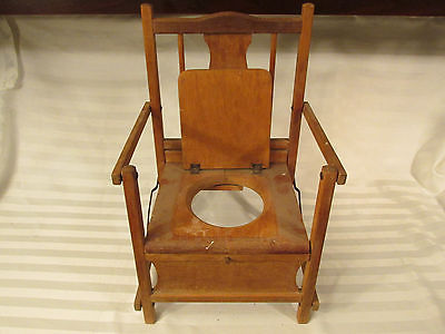 ANTIQUE FOLDING WOODEN CHILDS POTTY CHAIR TRAINING