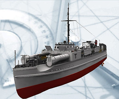 SCALE GERMAN E BOAT MODEL SHIP PRINTED PLANS ONLY  35.8