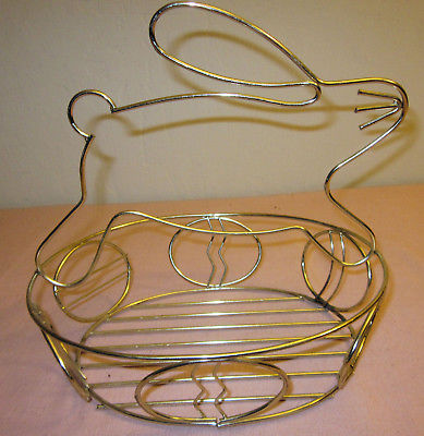 Metal Easter Egg Basket with Rabbit for handle