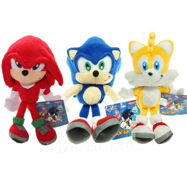 3pcs Sonic The Hedgehog Plushie Sonic Knuckles Tail Plush Doll Stuffed Toy 8inch