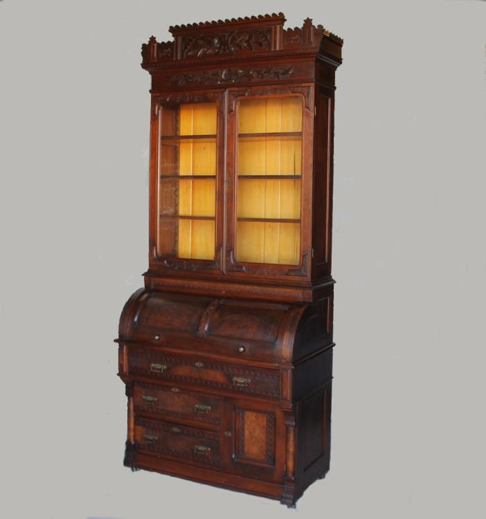 Antique Walnut Cylinder Secretary Desk – original finish