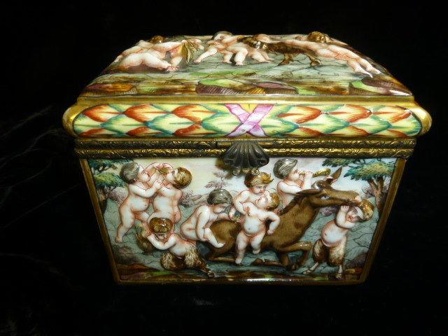 19th century Capo-di Monte (CAPODIMONTE)  Jewelry casket with under glaze mark
