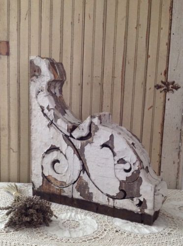 Antique Chippy White Shabby Chic Corbel Architectural Salvage 19