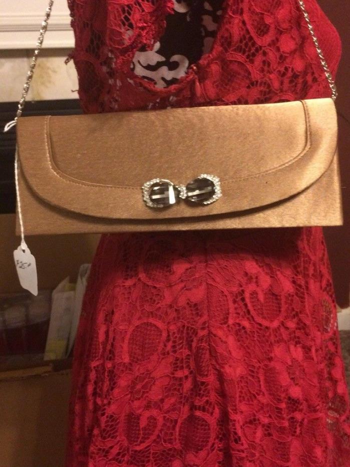 Bijoux Terner brown satin evening bag ladies small purse fashion bag
