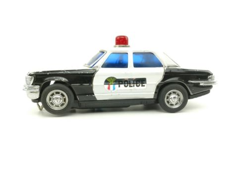 VINTAGE TIN BATTERY OPERATED HIGHWAY PATROL POLICE CAR TOY JAPAN SEARS & ROEBUCK
