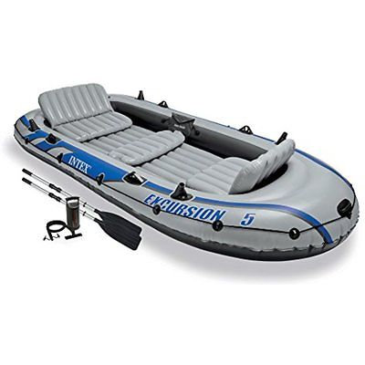 Excursion 5, Boating 5-Person Inflatable Set With Aluminum Oars And High Output