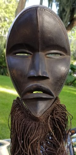 Fine  Dan African tribal wood mask on display stand