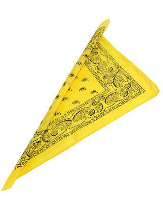 12 Yellow Cowboy Cowgirl Western Bandana Head Scarf Costume Accessory