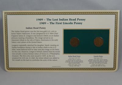 First Last 1909 Indian Head & XF 1909 VDB Lincoln Wheat Cent Penny Set PCS CB256