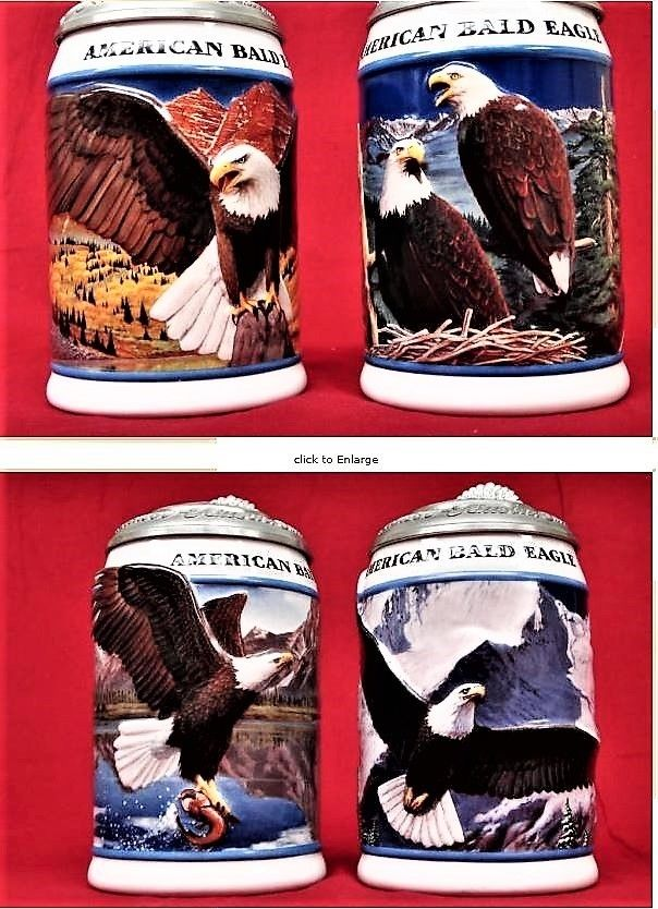 New STEIN HUGE LOT Holiday Lidded COLLECTOR EAGLE Christmas SIGNATURE ANHEUSER