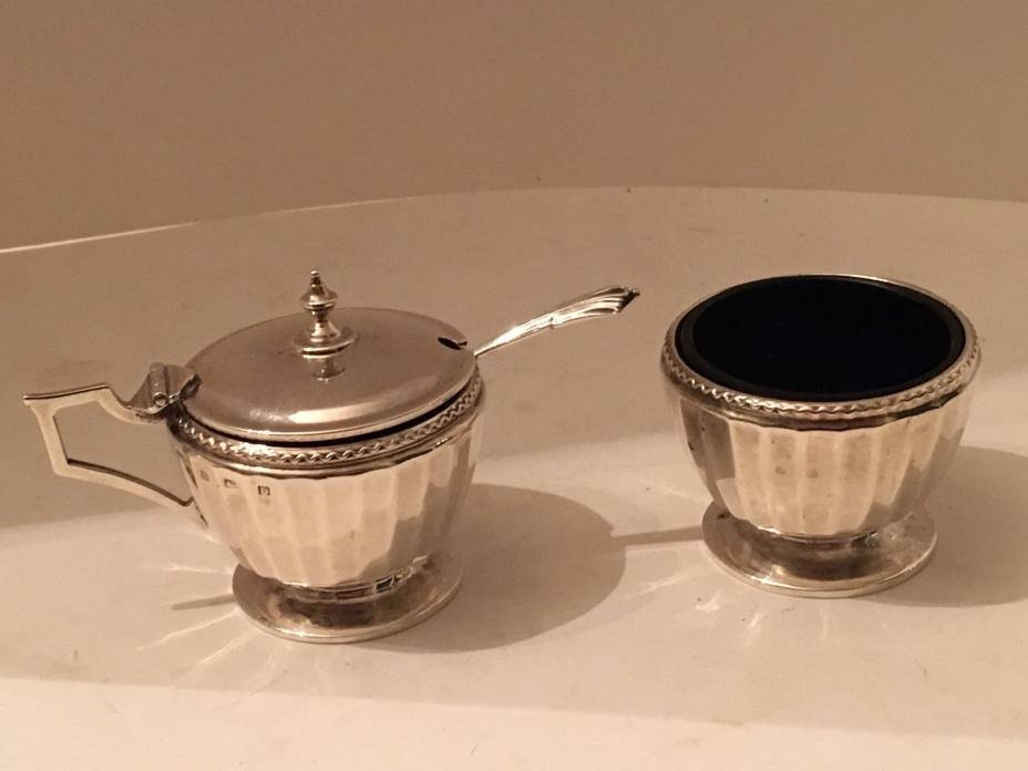 Antique English Art Deco Sterling Silver Mustard Pot &Salt Cellar Set 82 Grams