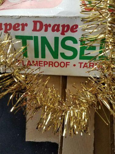 VTG Gold Tinsel Garland 28 yds Christmas Tree Indoor Outdoor Decoration