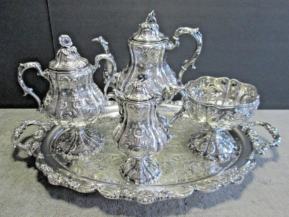 Antique Sterling Silver Tea Coffee Set +Tray