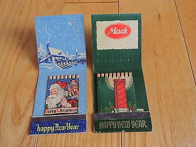 2 Vintage Season's Greetings Giant Match Book Mack trucks  Christmas Santa