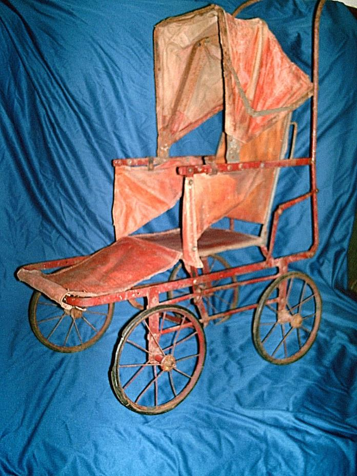 ANTIQUE Baby Doll Carriage 1890's Museum Buggy Stroller AS-IS (Handle is Broken)