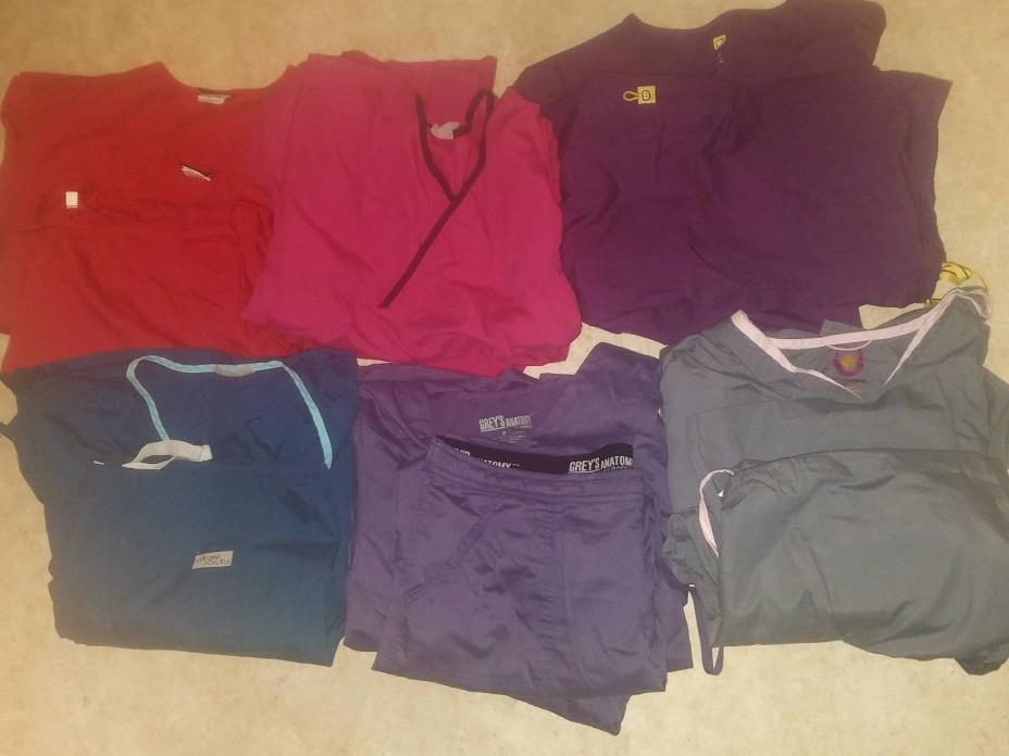 Lot of Women scrubs, 6 Sets, 3 Tops, 11 Bottoms, XL, 2XL, L, Read Description